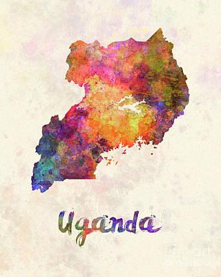 Uganda Wall Art - Painting - Uganda In Watercolor by Pablo Romero