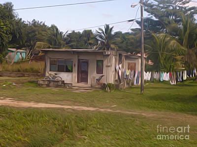 Belize - Brown House With Laundry Out To Dry Art Print