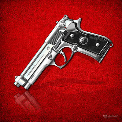 Famous Photograph - Beretta 92fs Inox Over Red Leather  by Serge Averbukh