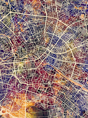 Berlin Wall Art - Digital Art - Berlin Germany City Map by Michael Tompsett