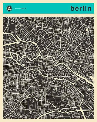 Berlin Map Digital Art - Berlin Map 1 by Jazzberry Blue