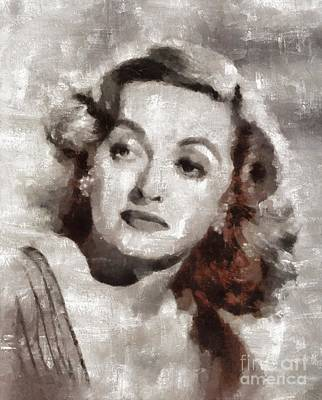 Elvis Presley Painting - Bette Davis Vintage Hollywood Actress by Mary Bassett