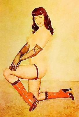 Burlesque Painting - Bettie Page By Frank Falcon by Frank Falcon