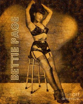 Bettie Page Painting - Bettie Page, Pin Up Artist by Frank Falcon