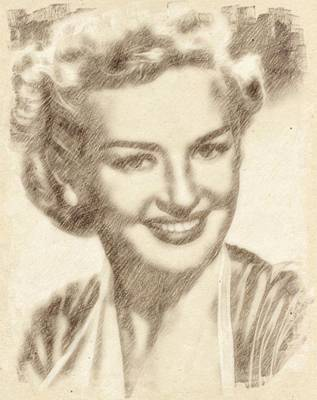 Celebrity Drawing - Betty Grable Hollywood Icon By John Springfield by John Springfield