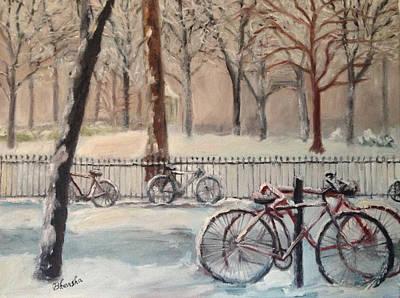 Philadelphia Scene Painting - Bicycles In Snow  by Bhavisha Patel