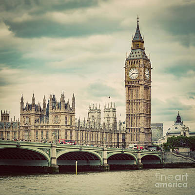 Landmarks Royalty Free Images - Big Ben, Westminster Bridge on River Thames in London, the UK. Vintage Royalty-Free Image by Michal Bednarek