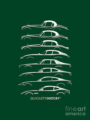 Jaguar Digital Art - Big Cat Coupe Silhouettehistory by Gabor Vida