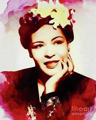 Music Paintings - Billie Holiday, Music Legend by Esoterica Art Agency