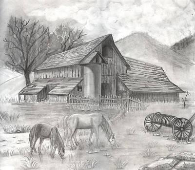 Old Barn Drawing - Billing's Farm by Doris Hodgson