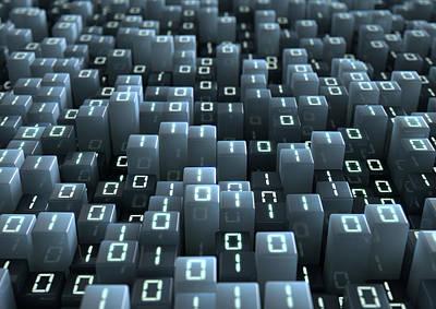 Binary Code Pixels Print by Allan Swart