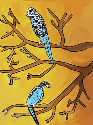 Wall Art - Painting - 2 Birds On A Branch by Brandon Drucker