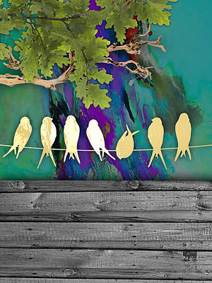 Wood Art Mixed Media - Birds On A Wire Collection by Marvin Blaine