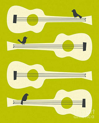Mint Digital Art - Birds On Guitar Strings by Jazzberry Blue