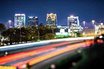 Photograph - Birmingham Alabama City Skyline And Highway Traffic Trails by Alex Grichenko