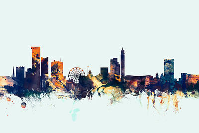 Great Britain Digital Art - Birmingham England Skyline by Michael Tompsett