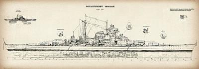 Germany Digital Art - Bismarck - Part 02 Of The Ship Plans. Iconic World War II Battleship Of The Kriegsmarine by Jose Elias - Sofia Pereira