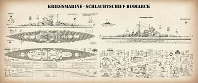 Bismarck - Ship Plans Of The Iconic World War II Battleship Of The Kriegsmarine, The German War Navy Art Print by Jose Elias - Sofia Pereira