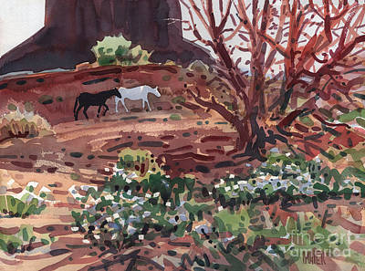 White Horse Watercolor Painting - Black And White by Donald Maier