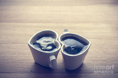 Table Photograph - Black Coffee, Espresso In Two Heart Shaped Cups.. Love, Valentine's Day, Vintage by Michal Bednarek