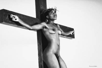 Female Christ Photograph - Black Jesus Crucifix by Ramon Martinez
