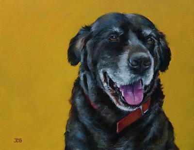 Gold Labrador Painting - Black Labrador Retriever by Julie Dalton Gourgues