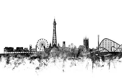 Great Britain Digital Art - Blackpool England Skyline by Michael Tompsett