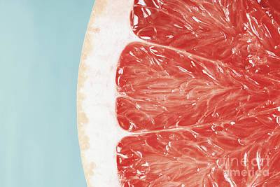 Grapefruit Photograph - Blood Orange Slice Macro Details by Radu Bercan