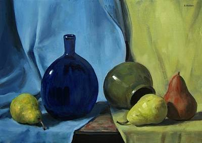 Painting - Blue Glass Flask And Pears by Robert Holden