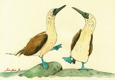 Galapagos Painting - Blue Footed Boobies by Juan  Bosco