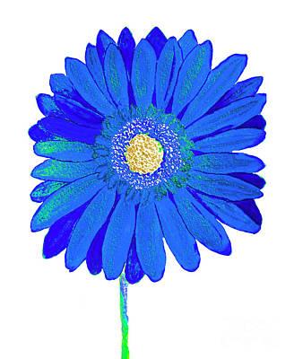 Painting - Blue Gerbera On Yellow, Watercolor by Irina Afonskaya