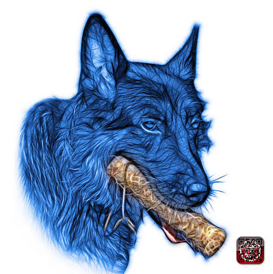 Digital Art - Blue German Shepherd And Toy - 0745 F by James Ahn