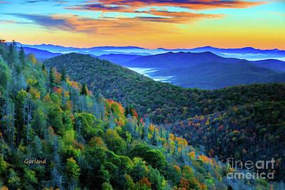 Landscapes Digital Art - Blue Ridge Mountains Evening Colors by Garland Johnson