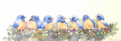 Painting - Bluebird Friends by Jerry Kelley