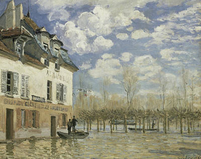 Boat In The Flood At Port Marly Print by Alfred Sisley