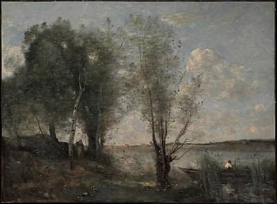 Boatman Among The Reeds Original by Camille Corot