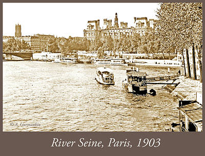 Photograph - Boats In The Seine River, Paris, 1903, Vintage Photograph by A Gurmankin