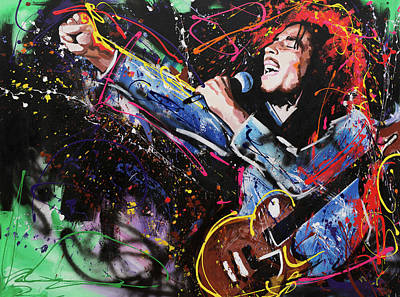 Abstract Expression Painting - Bob Marley by Richard Day
