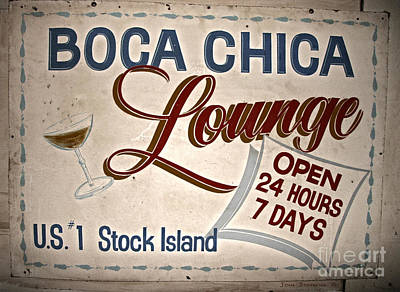 Photograph - Boca Chica Lounge Sign Stock Island Florida Keys by John Stephens