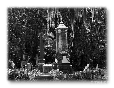 Photograph - Bonaventure Cemetery Bw by Jacqueline M Lewis