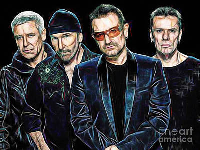 Irish Rock Band Mixed Media - Bono U2 Collection by Marvin Blaine