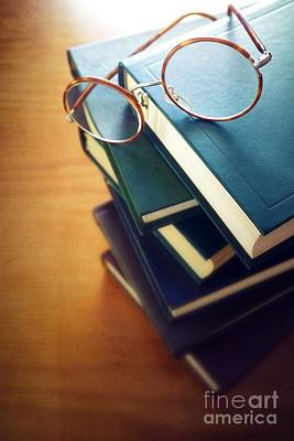 Books And Glasses Art Print by Carlos Caetano
