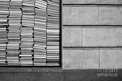 Photograph - Books Stacked Up Against Wall by Jim Corwin