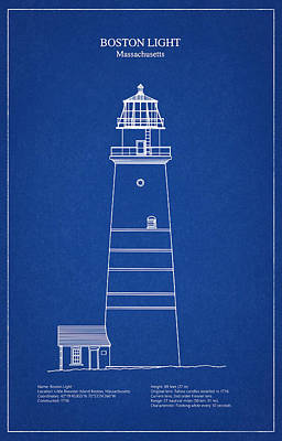 Boston Light Lighthouse - Massachusetts - Blueprint Drawing Art Print