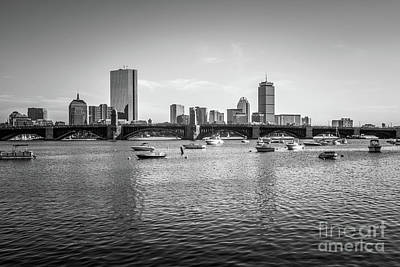 Longfellow Photograph - Boston Skyline Black And White Photo by Paul Velgos