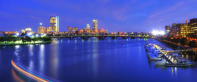 Boston Skyline Panoramic At Night Art Print