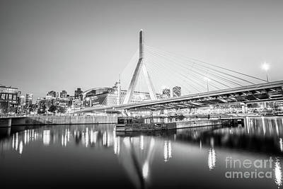 Charles River Photograph - Boston Zakim Bridge At Night Black And White Photo by Paul Velgos