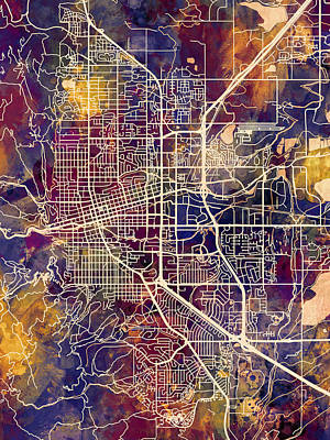 Digital Art - Boulder Colorado City Map by Michael Tompsett