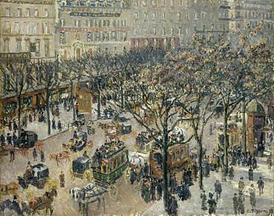 Streetscape Painting - Boulevard Des Italiens, Morning, Sunlight by Camille Pissarro