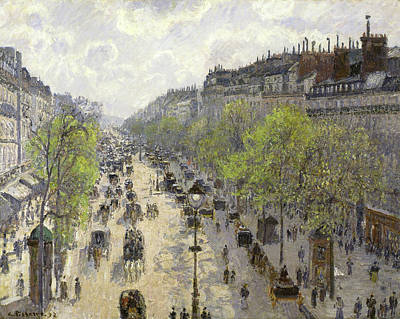 Street Painting - Boulevard Montmartre, Spring by Camille Pissarro